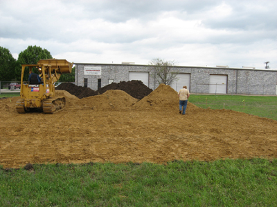 Texas Timber Wolf workshop construction - Compacting Fill Dirt.