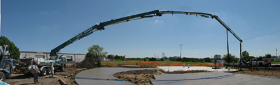 Texas Timber Wolf workshop construction - Concrete Pump.