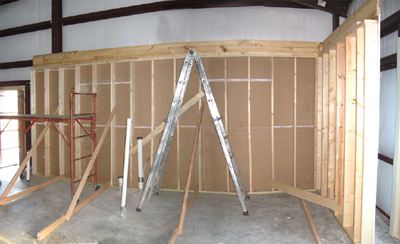 Texas Timber Wolf workshop construction - Interior Framing 1.