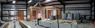 Texas Timber Wolf workshop construction - Interior Rough Completed.