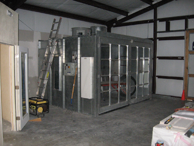 Texas Timber Wolf workshop construction - Paint booth.