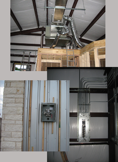 Texas Timber Wolf workshop construction - Rough HVAC and Electrical.