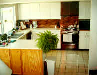 Before the remodel the paited cabinets were outdated and dingy.