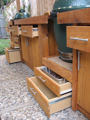 Lots of drawers help organize storage in BGE BBQ Station