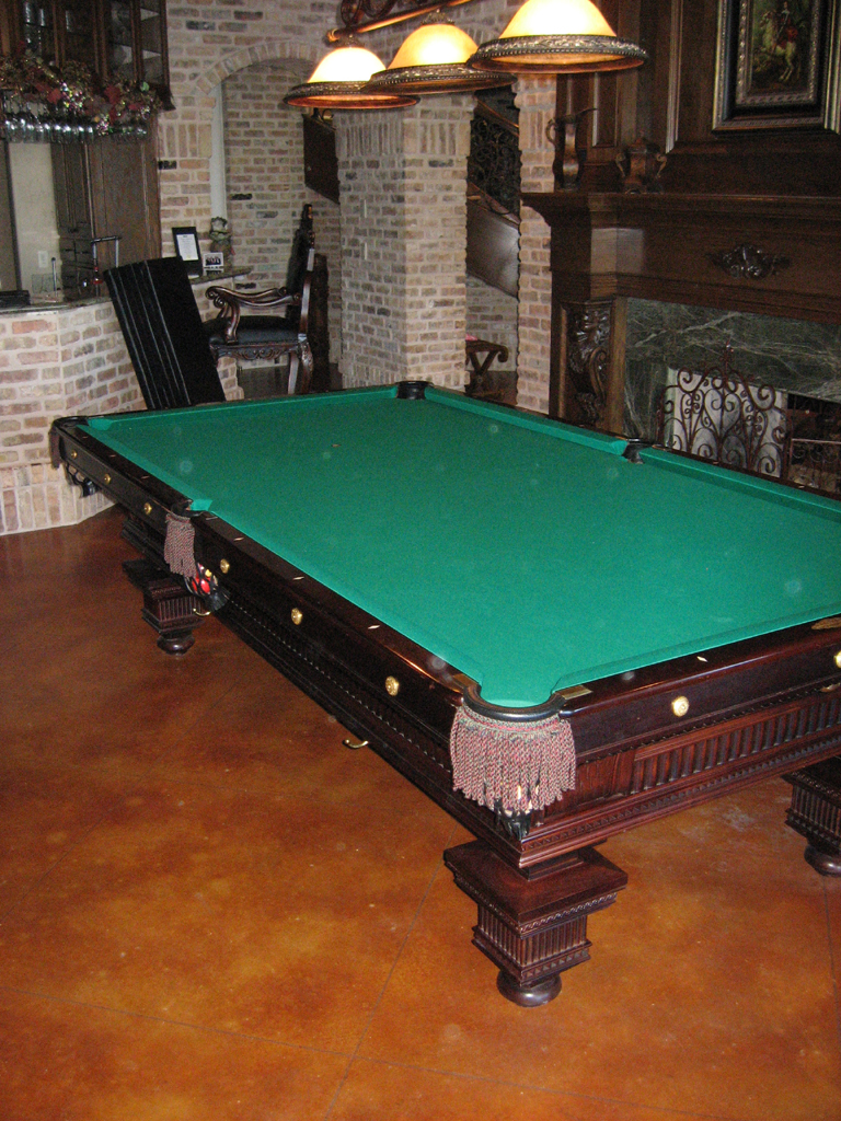 Pool table dining top for Small pool table room ideas