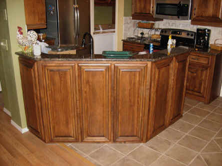 Tall bar counter with cabinet panels