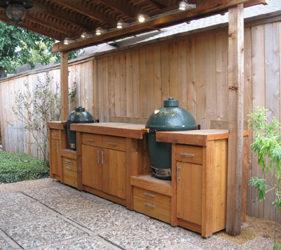 Cedar Big Green Egg BBQ Table for two eggs