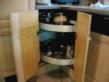 Lazy Susan offers utility for tight corner spaces.